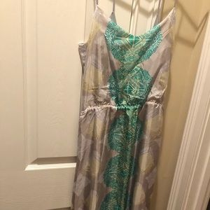 Silk maxi dress cut out back and straps small